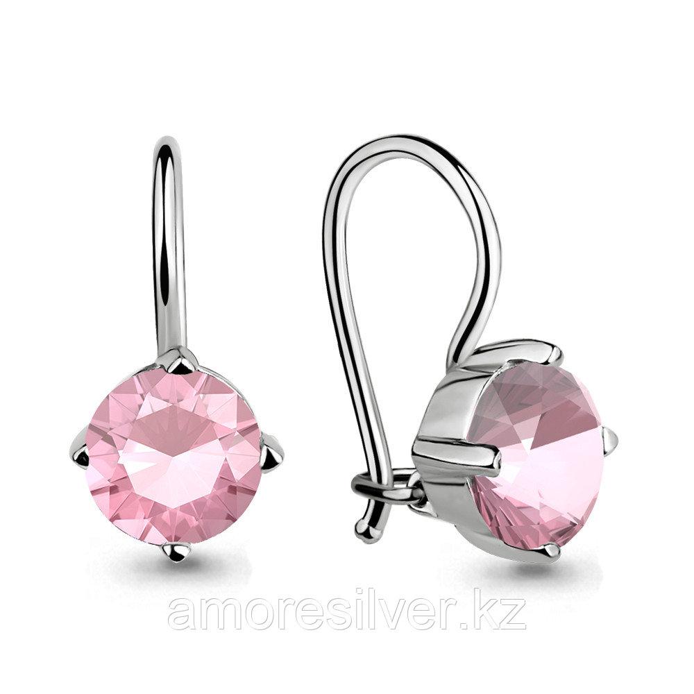 Серебряные серьги с стеклом   Аквамарин 46071101Р