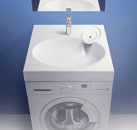 Раковина над стиральной машиной Смайл V55 (белый лёд). Мрамор., фото 1