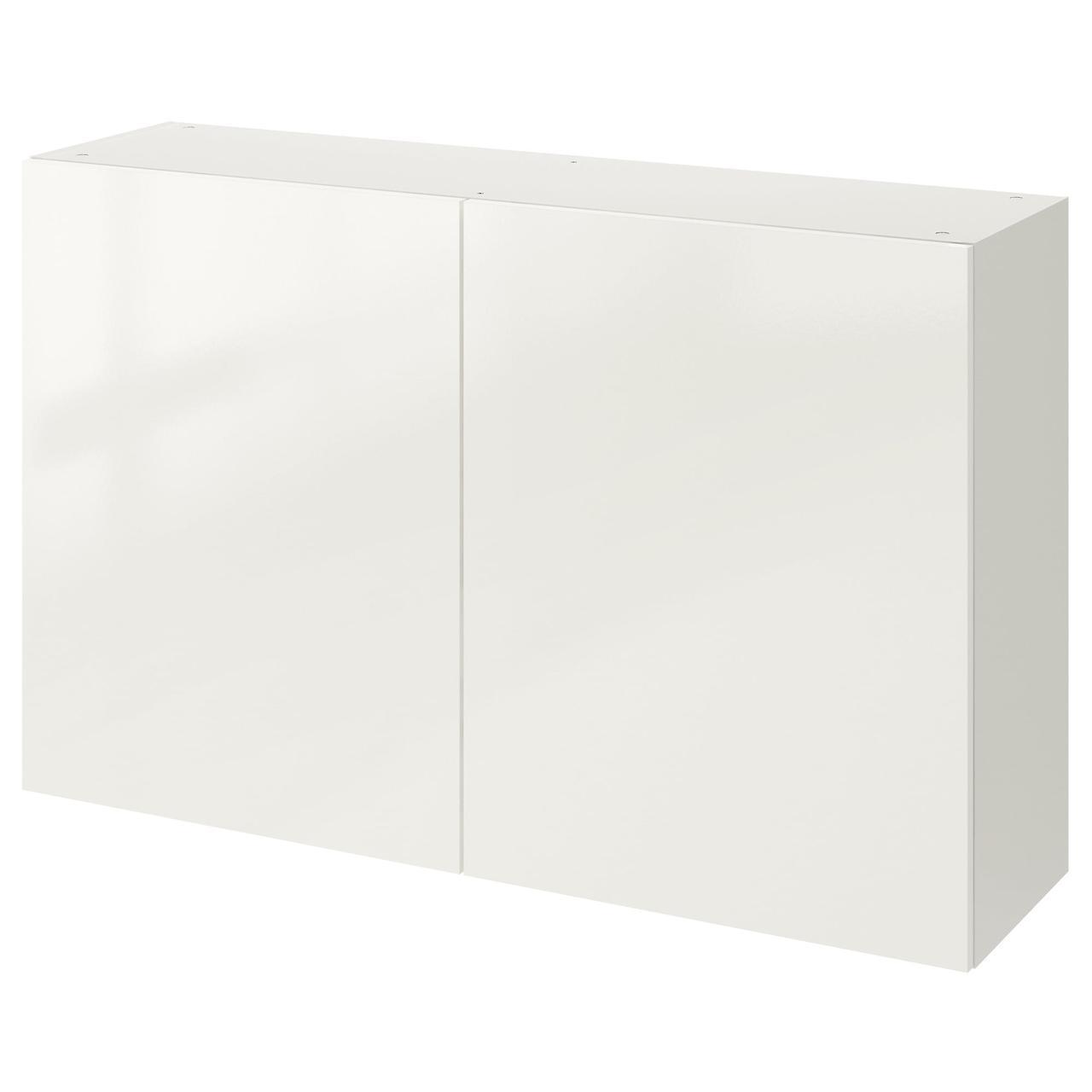 КНОКСХУЛЬТ Навесной шкаф с дверями, глянцевый белый