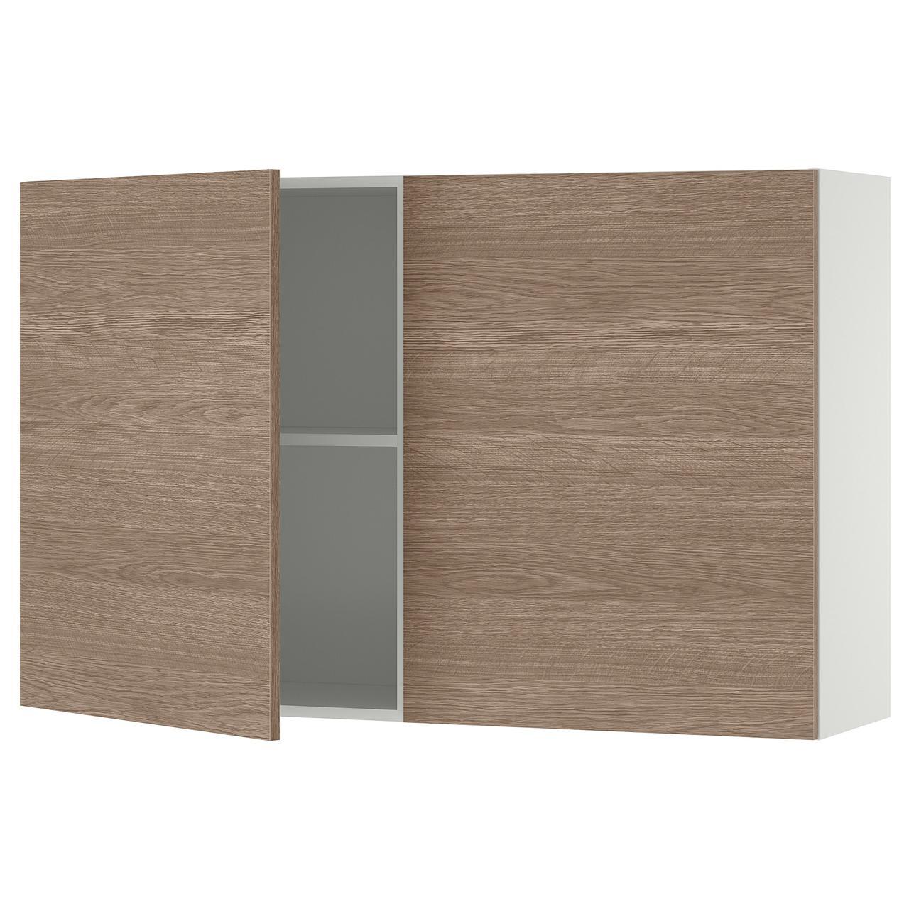 КНОКСХУЛЬТ Навесной шкаф с дверями, под дерево, серый