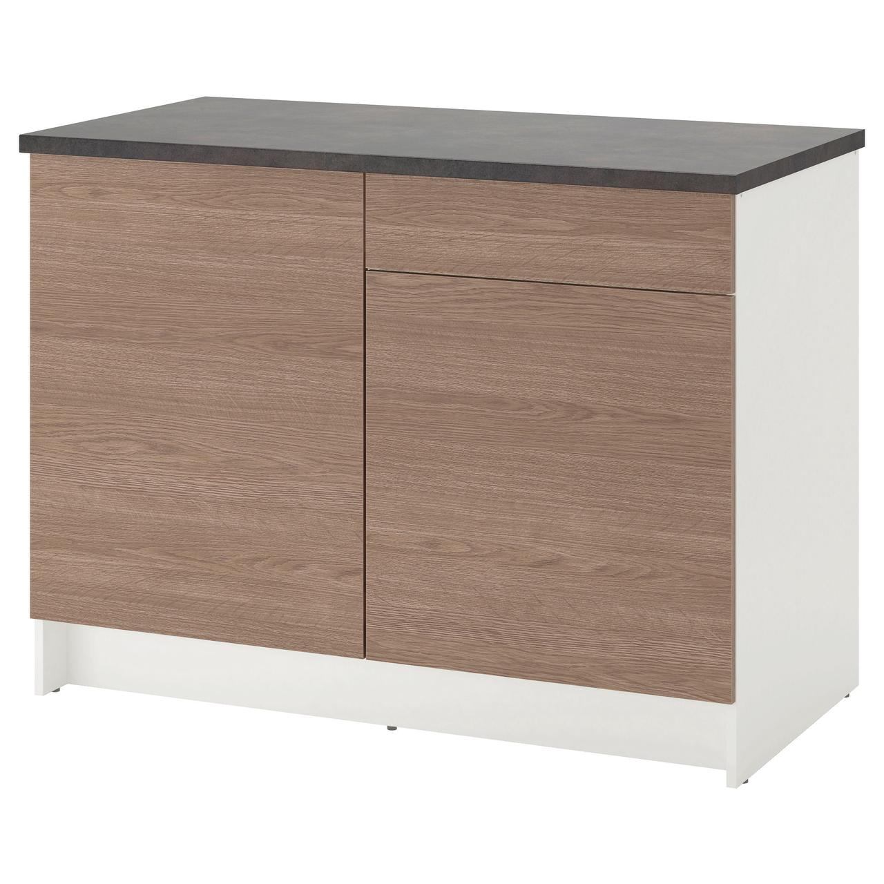 КНОКСХУЛЬТ Напольный шкаф с дверцами и ящиком, под дерево, серый
