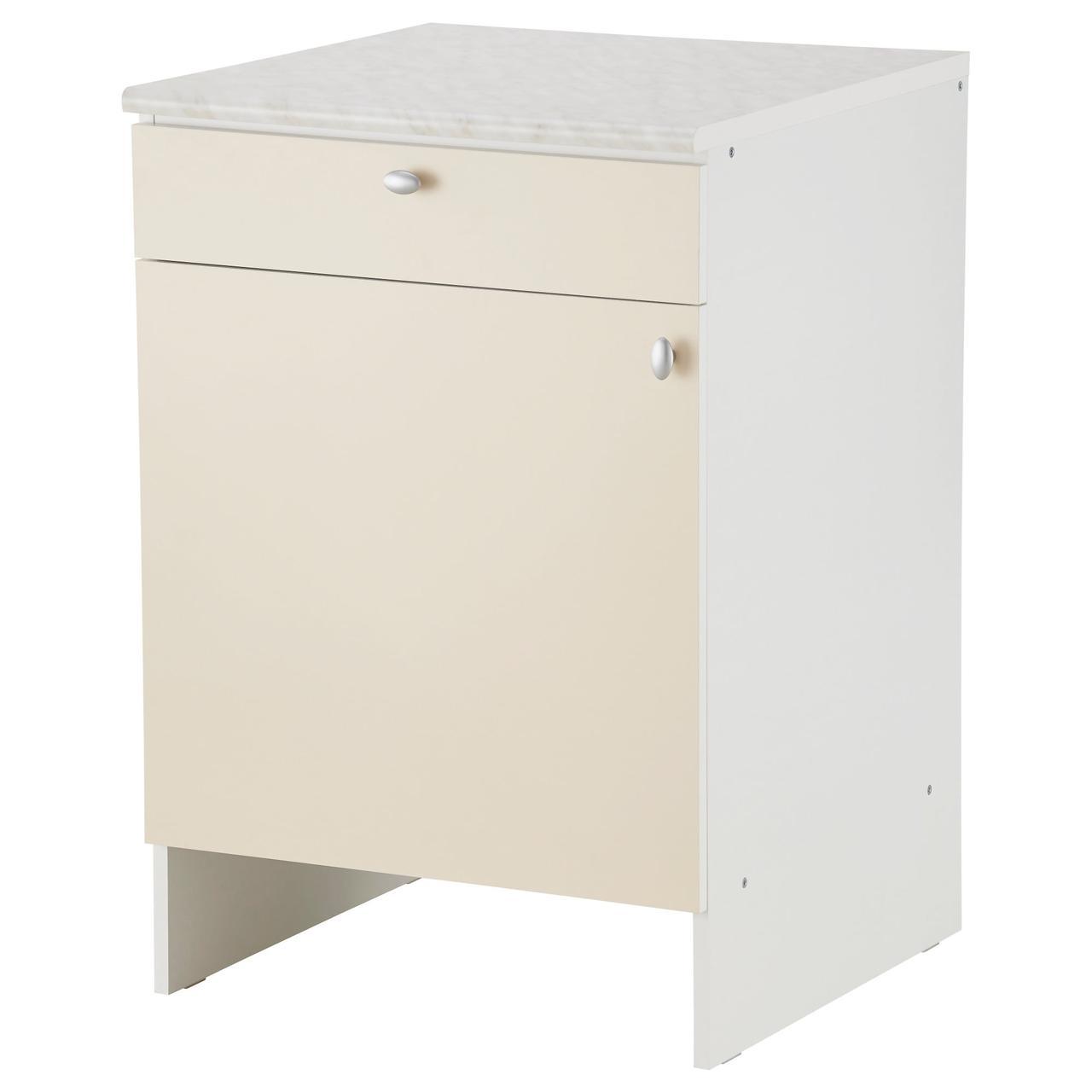 ОВЕРБУ Напольный шкаф с дверью и ящиком, бежевый