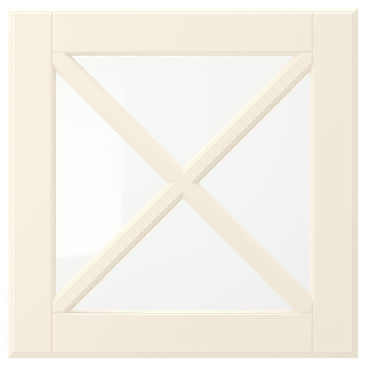 БУДБИН Стеклянная дверца с переплетом, белый с оттенком