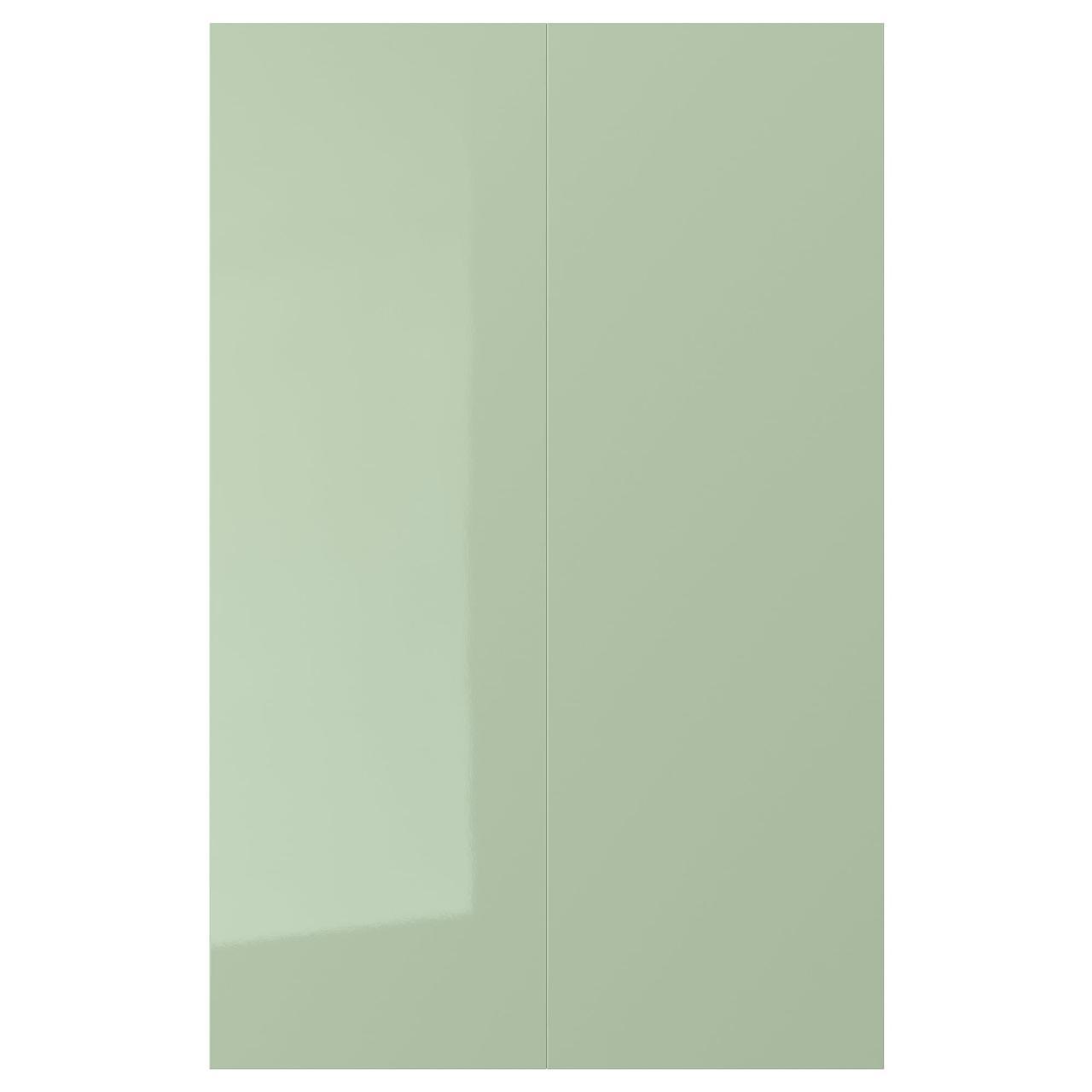 КАЛЛАРП Дверца д/напольн углового шк, 2шт, глянцевый светло-зеленый