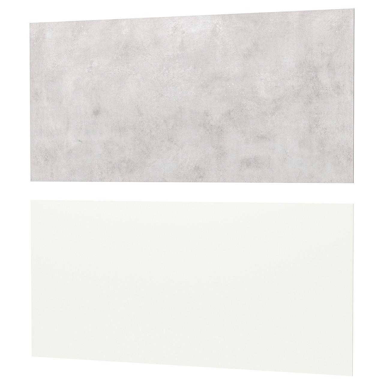 ЛИЗЕКИЛЬ Настенная панель, белый, светло-серый под бетон