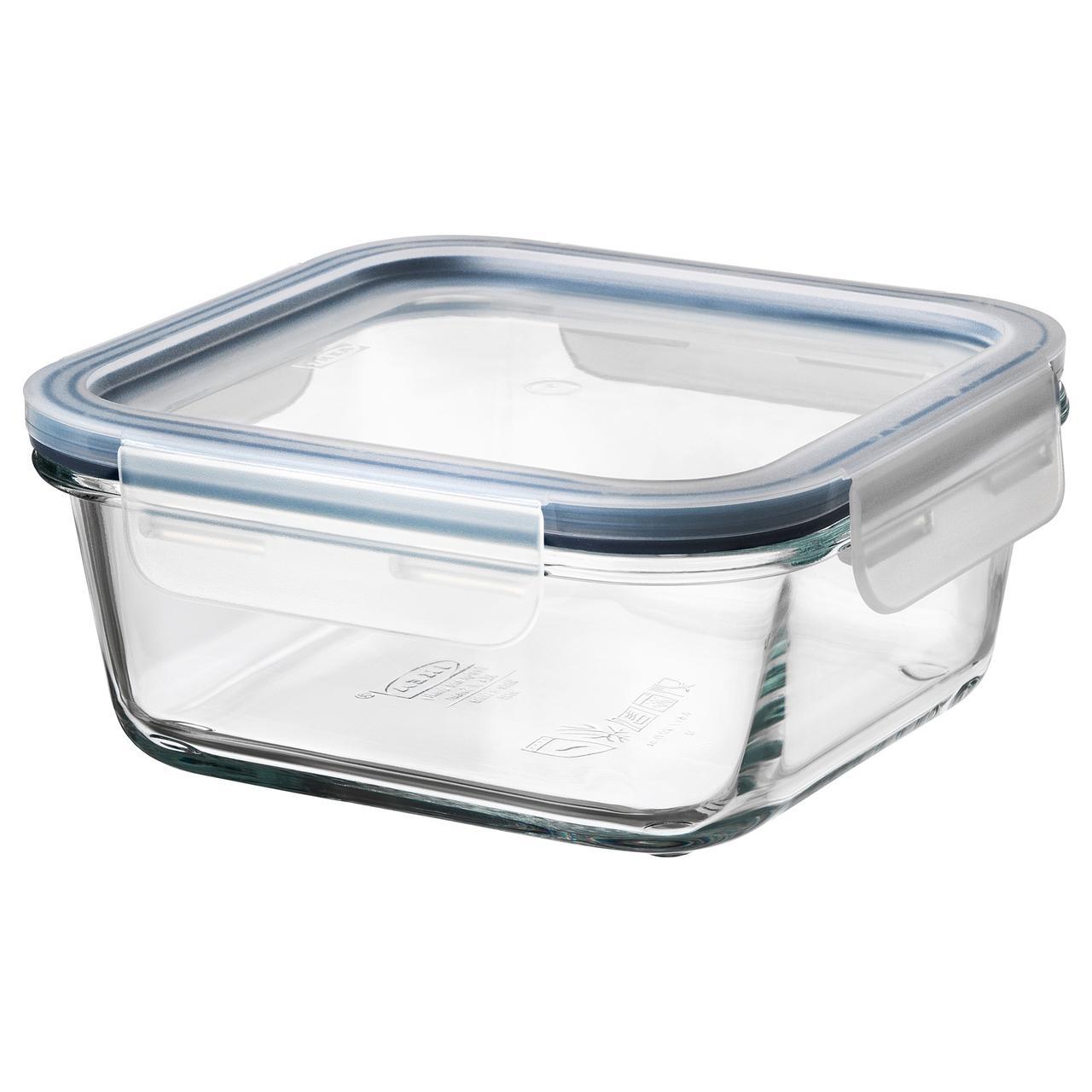 ИКЕА/365+ Контейнер для продуктов с крышкой, четырехугольной формы стекло, пластик стекло