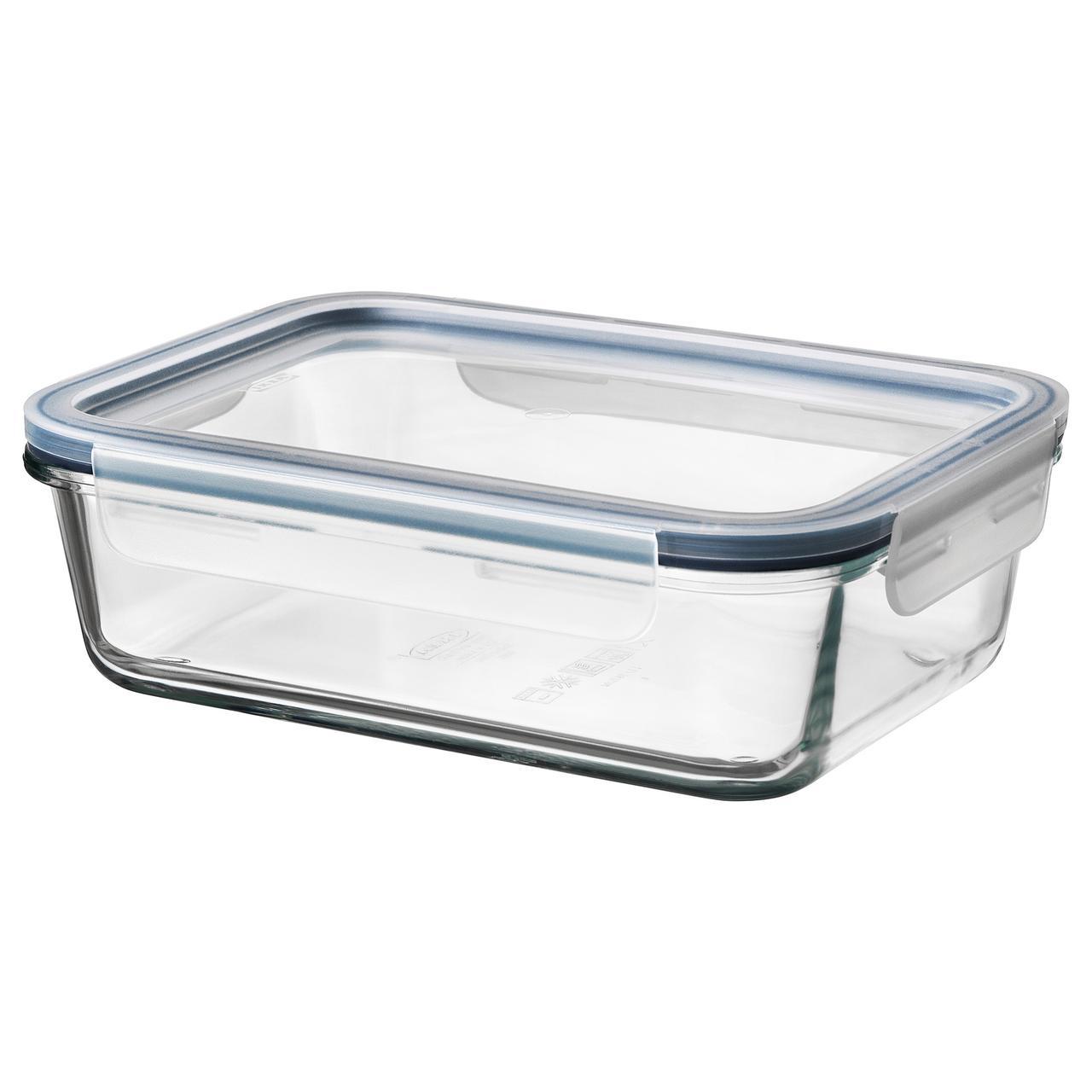 ИКЕА/365+ Контейнер для продуктов с крышкой, прямоугольн формы стекло, пластик стекло