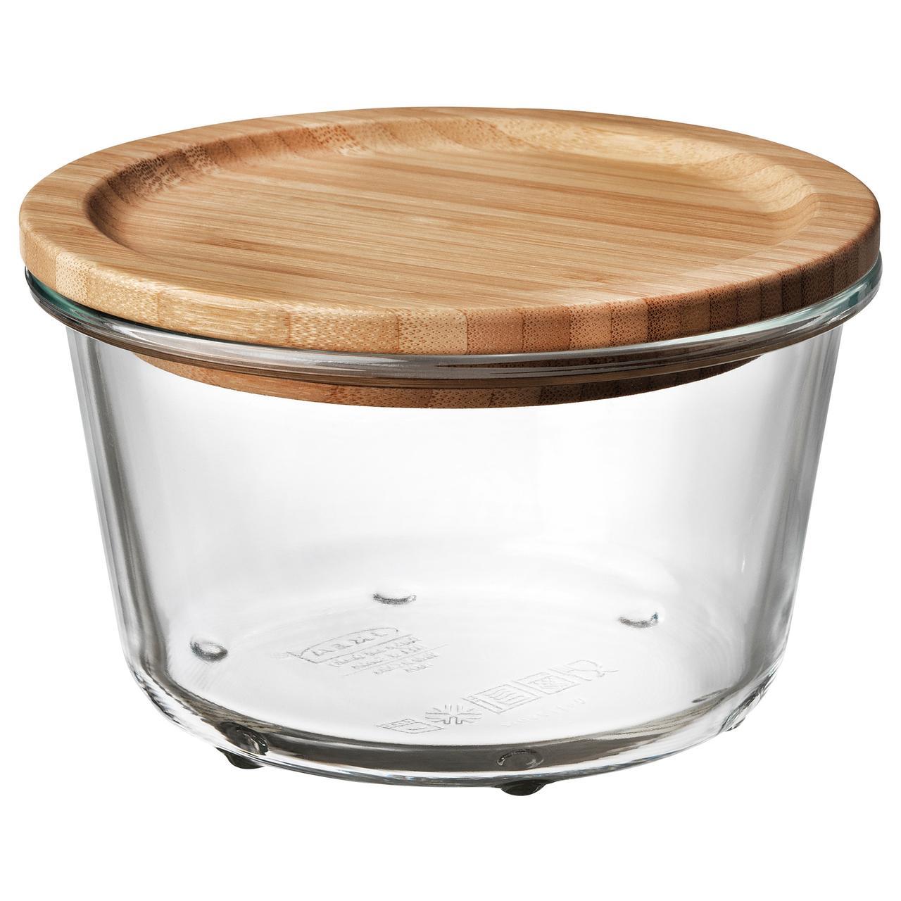 ИКЕА/365+ Контейнер для продуктов с крышкой, круглой формы стекло, стекло бамбук