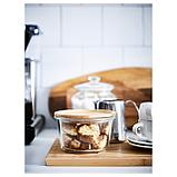 ИКЕА/365+ Контейнер для продуктов с крышкой, круглой формы стекло, стекло бамбук, фото 3
