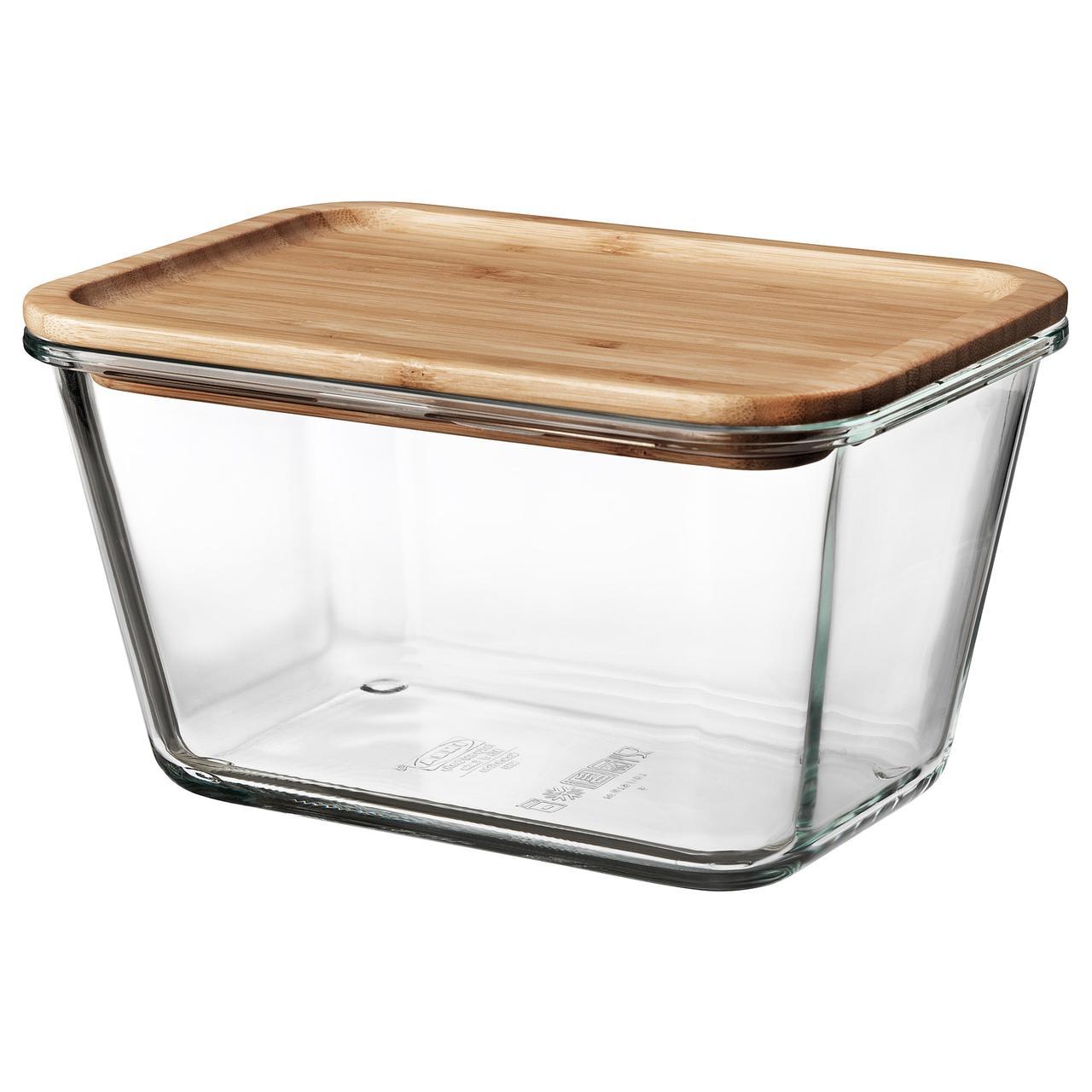 ИКЕА/365+ Контейнер для продуктов с крышкой, прямоугольн формы стекло, стекло бамбук