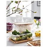 ИКЕА/365+ Контейнер для продуктов с крышкой, прямоугольн формы стекло, стекло бамбук, фото 2