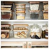 ИКЕА/365+ Контейнер для продуктов с крышкой, прямоугольн формы стекло, стекло бамбук, фото 3