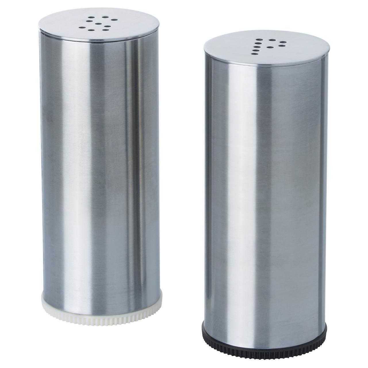 ПЛАТС Солонка/перечница, 2 штуки, нержавеющ сталь
