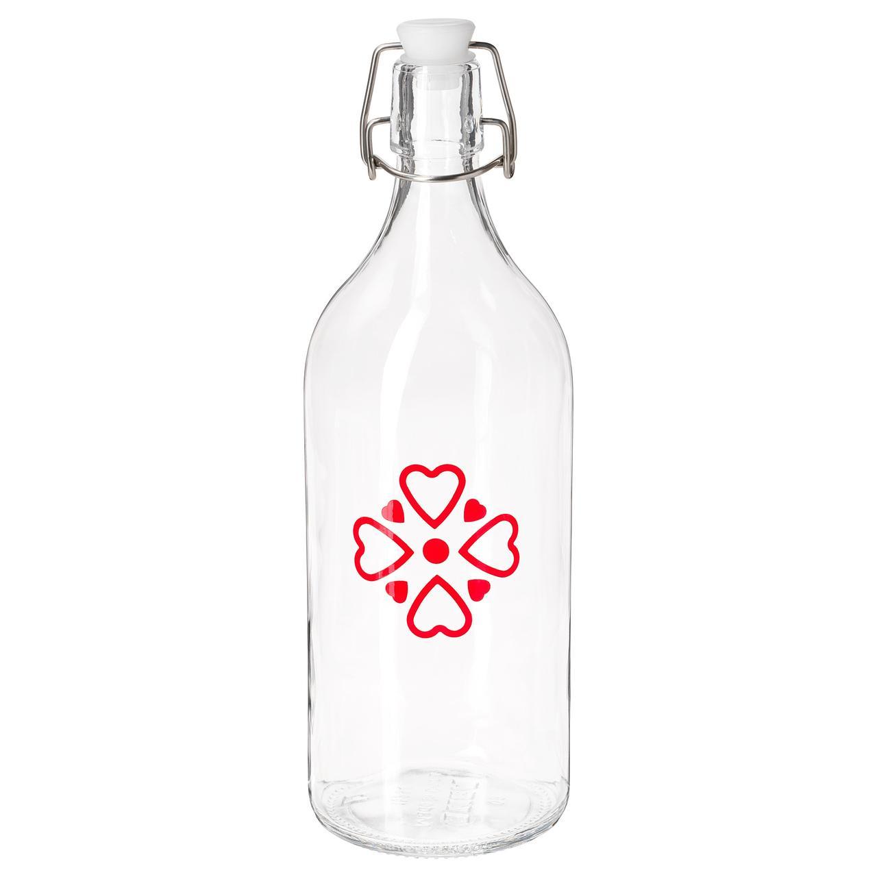 ВИНТЕР 2018 Бутылка с пробкой, прозрачное стекло, с рисунком