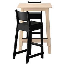 НОРРОКЕР / НОРРОКЕР Барный стол и 2 барных стула, белый береза, черный