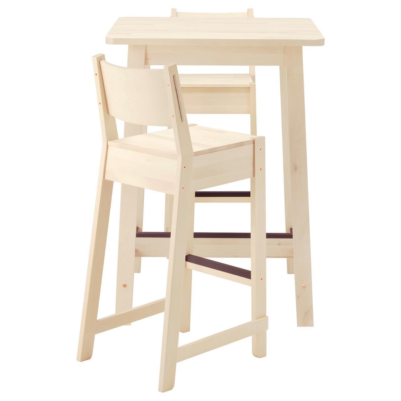 НОРРОКЕР / НОРРОКЕР Барный стол и 2 барных стула, белый береза, белый береза