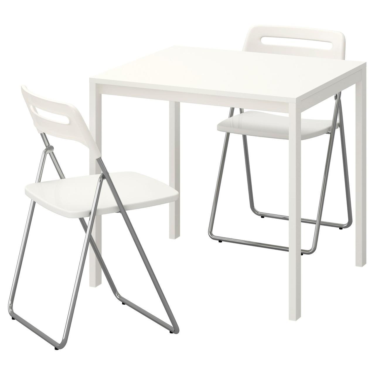 МЕЛЬТОРП / НИССЕ Стол и 2 складных стула, белый, белый