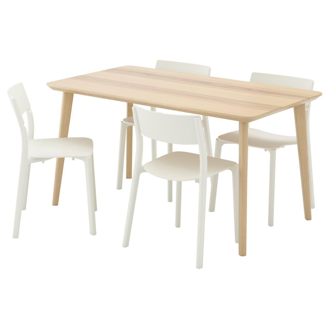 ЛИСАБО / ЯН-ИНГЕ Стол и 4 стула, ясеневый шпон, белый