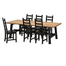 СКОГСТА / КАУСТБИ Стол и 6 стульев, акация, коричнево-чёрный