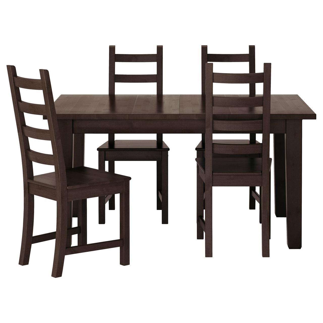 СТУРНЭС / КАУСТБИ Стол и 4 стула, коричнево-чёрный