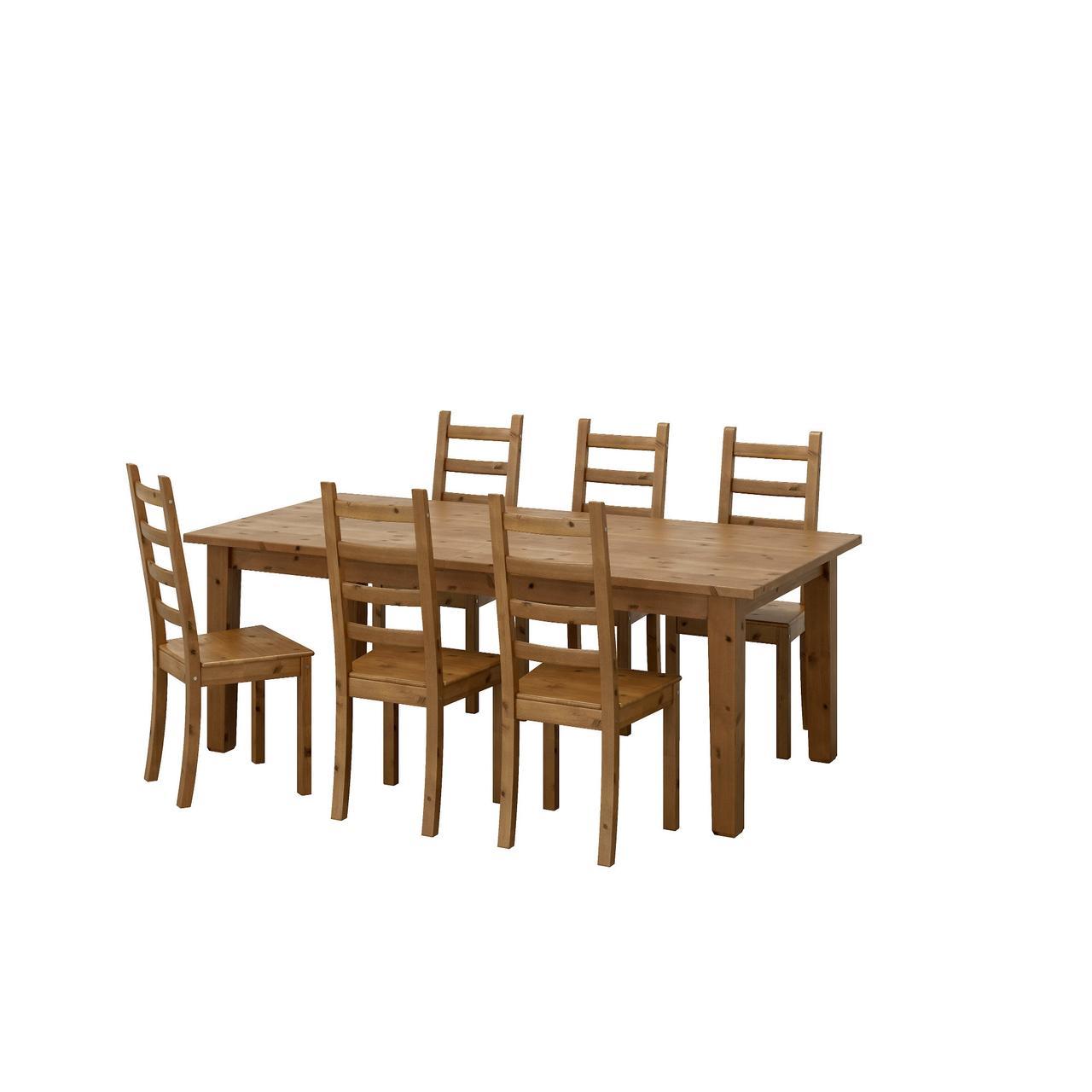 СТУРНЭС / КАУСТБИ Стол и 6 стульев, морилка,антик