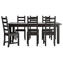 СТУРНЭС / КАУСТБИ Стол и 6 стульев, коричнево-чёрный