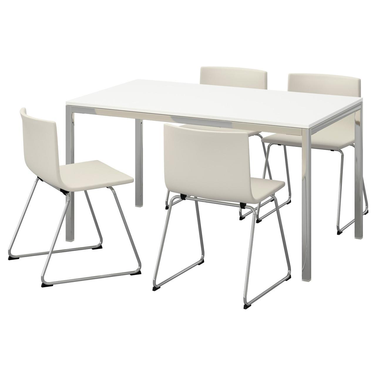 ТОРСБИ / БЕРНГАРД Стол и 4 стула, глянцевый белый, Кават белый