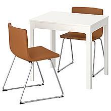 ЭКЕДАЛЕН / БЕРНГАРД Стол и 2 стула, белый, Мьюк золотисто-коричневый