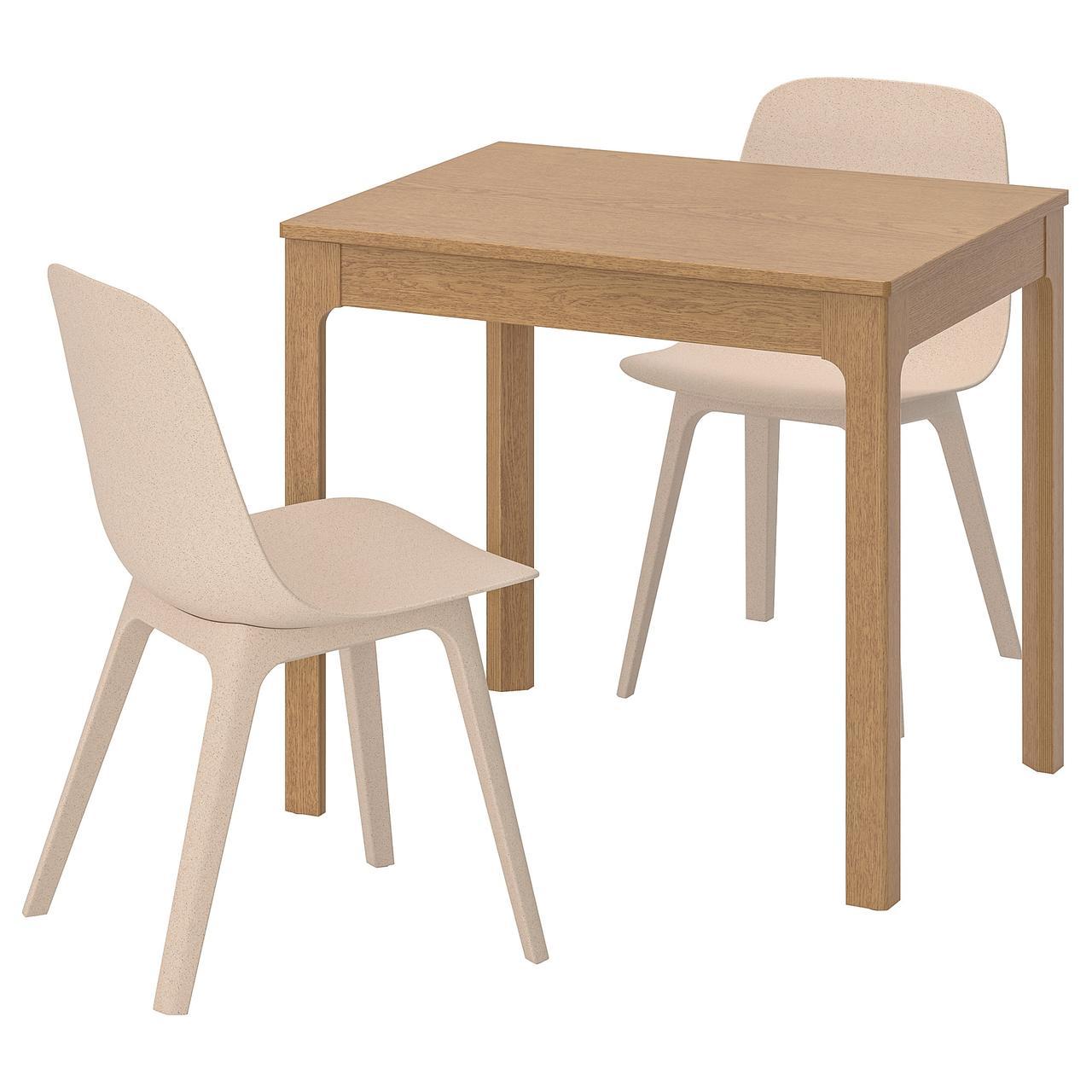 ЭКЕДАЛЕН / ОДГЕР Стол и 2 стула, дуб, белый бежевый