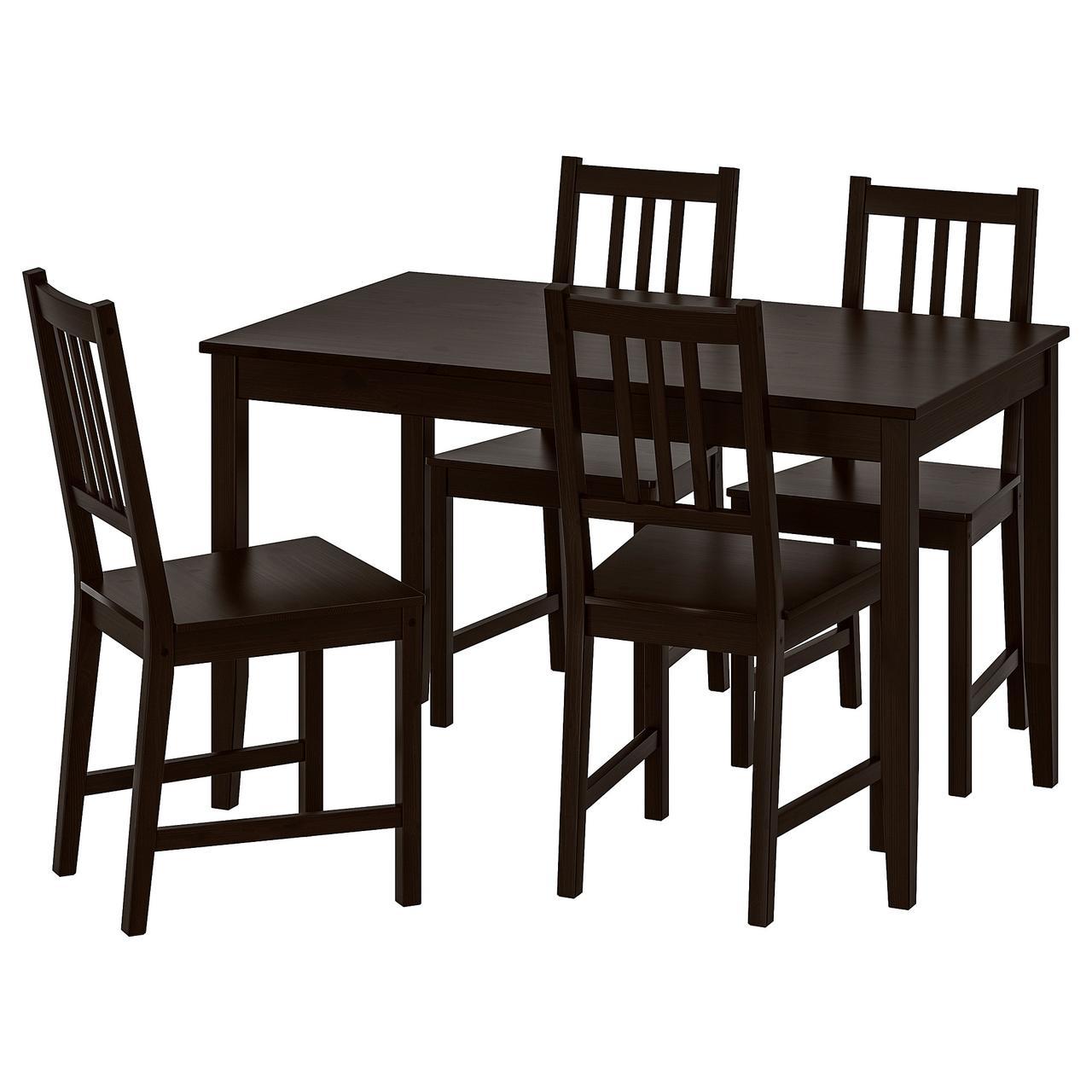 ЛЕРХАМН / СТЕФАН Стол и 4 стула