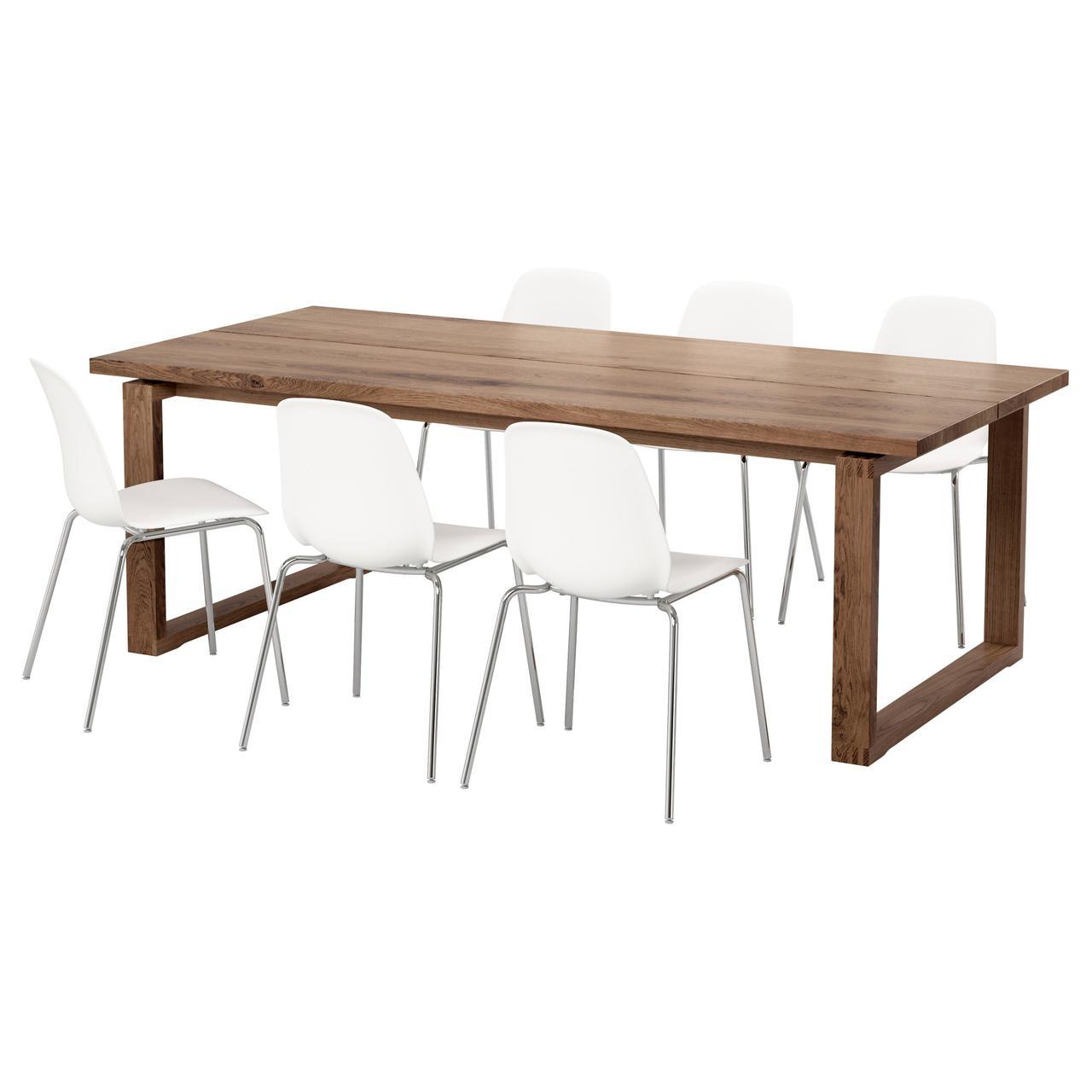 МОРБИЛОНГА / ЛЕЙФ-АРНЕ Стол и 6 стульев, коричневый, белый