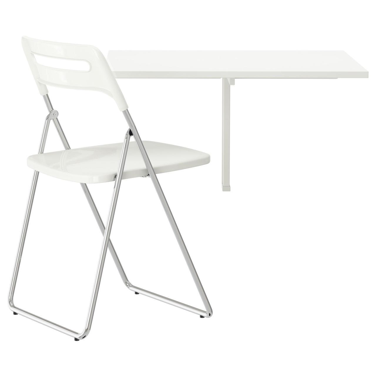 НОРБЕРГ / НИССЕ Стол и 1 стул, белый, хромированный белый