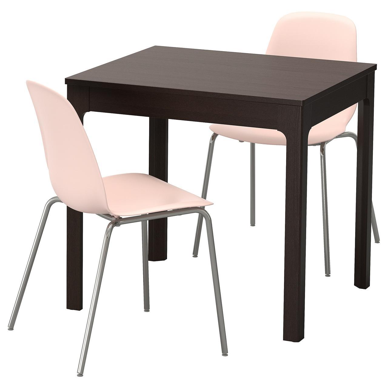ЭКЕДАЛЕН / ЛЕЙФ-АРНЕ Стол и 2 стула, темно-коричневый, розовый