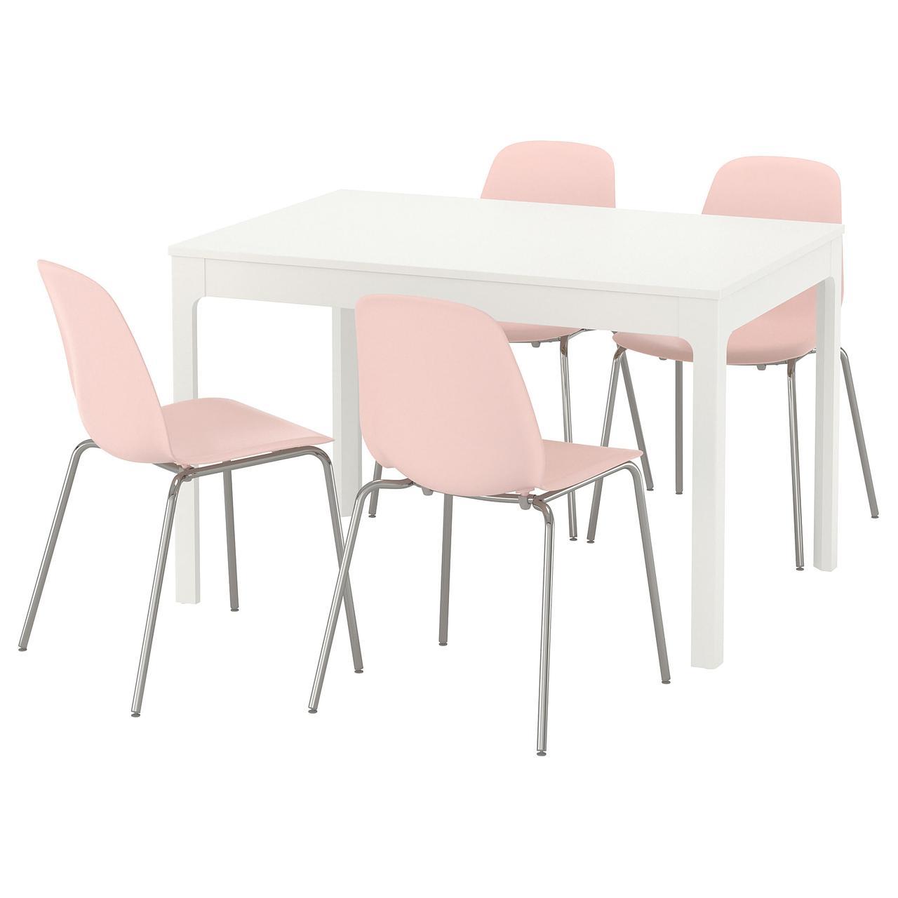 ЭКЕДАЛЕН / ЛЕЙФ-АРНЕ Стол и 4 стула, белый, розовый