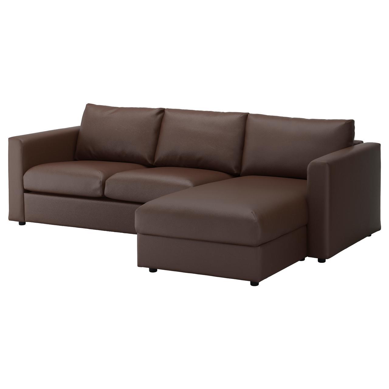 ВИМЛЕ 3-местный диван, с козеткой, Фарста темно-коричневый
