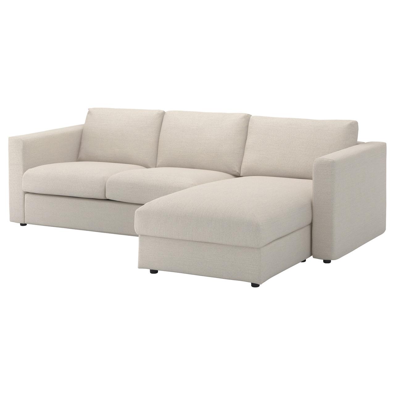 ВИМЛЕ 3-местный диван, с козеткой, Гуннаред бежевый