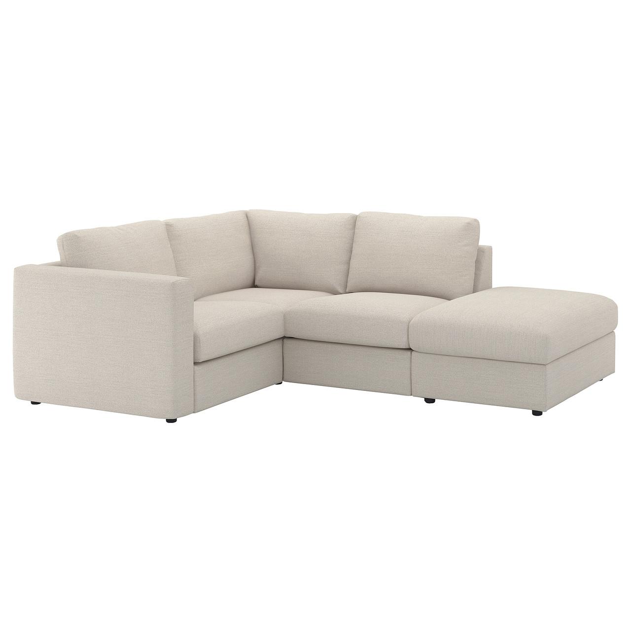 ВИМЛЕ 3-местный угловой диван, с открытым торцом, Гуннаред бежевый