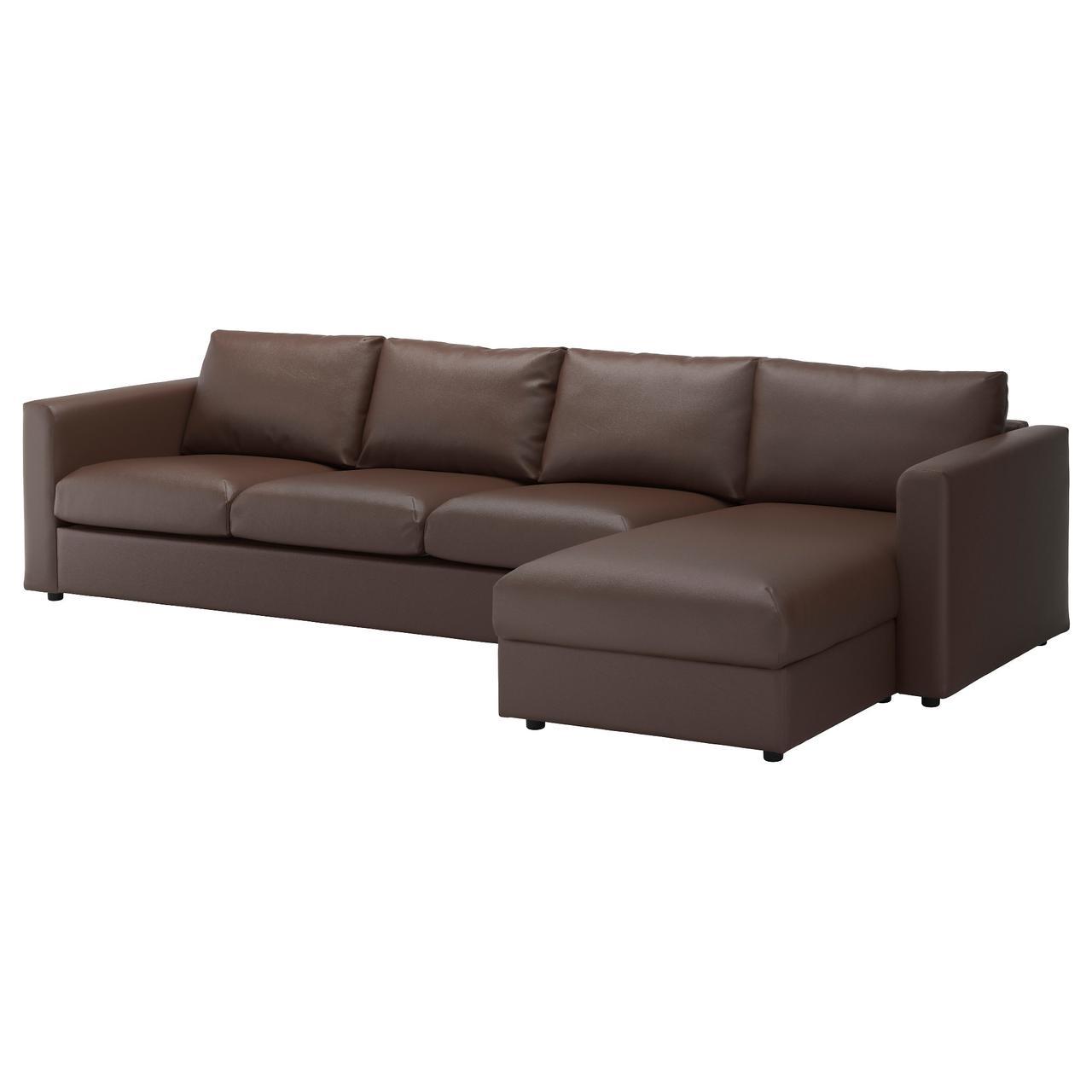 ВИМЛЕ 4-местный диван, с козеткой, Фарста темно-коричневый