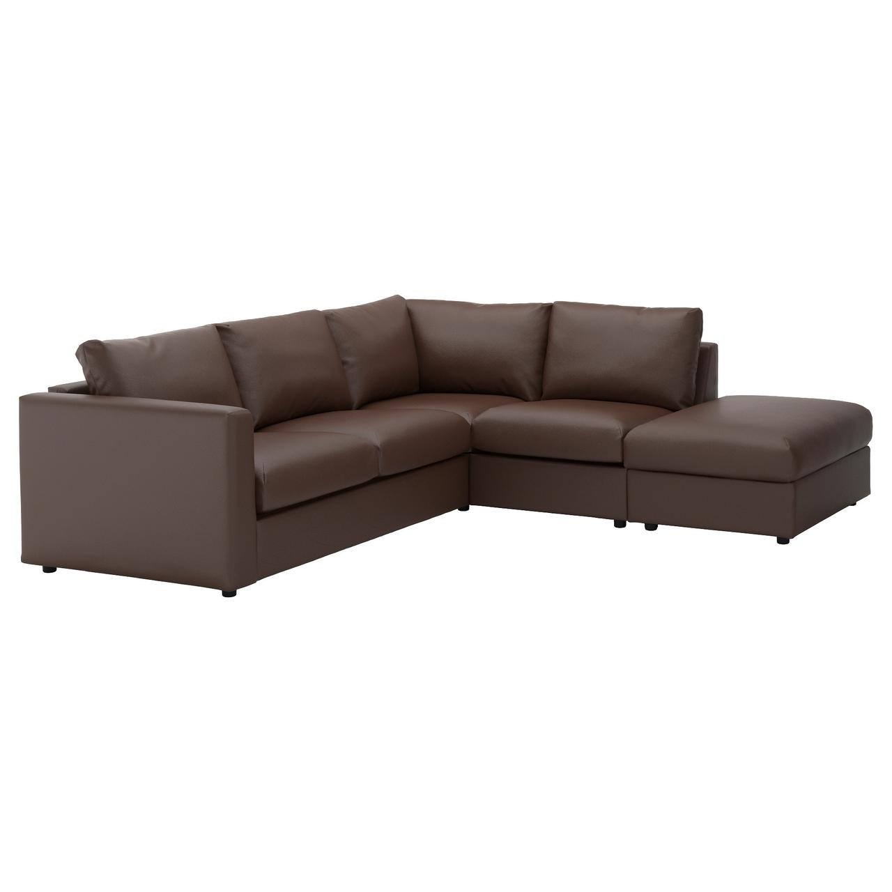 ВИМЛЕ 4-местный угловой диван, с открытым торцом, Фарста темно-коричневый