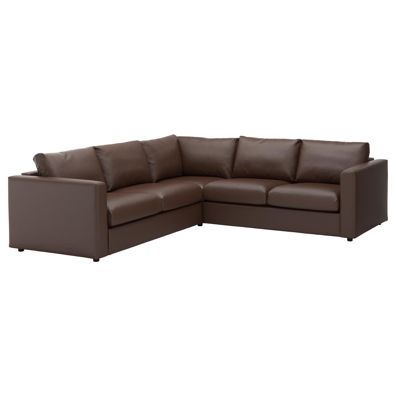 ВИМЛЕ 4-местный угловой диван, Фарста темно-коричневый