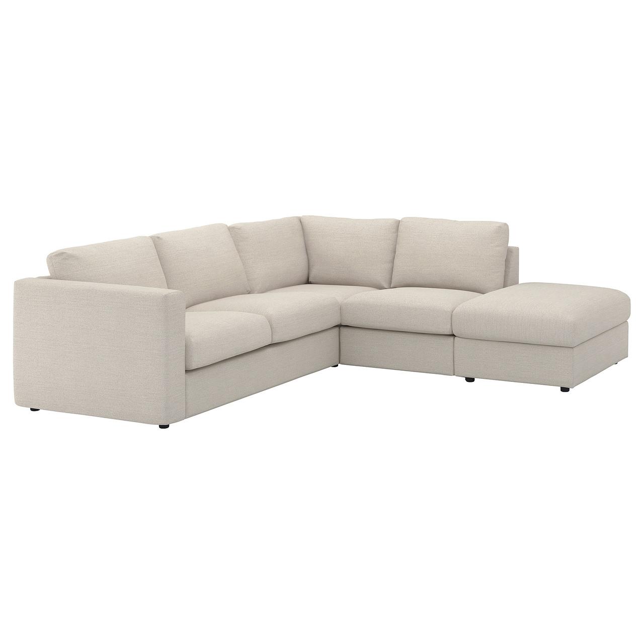 ВИМЛЕ 4-местный угловой диван, с открытым торцом, Гуннаред бежевый