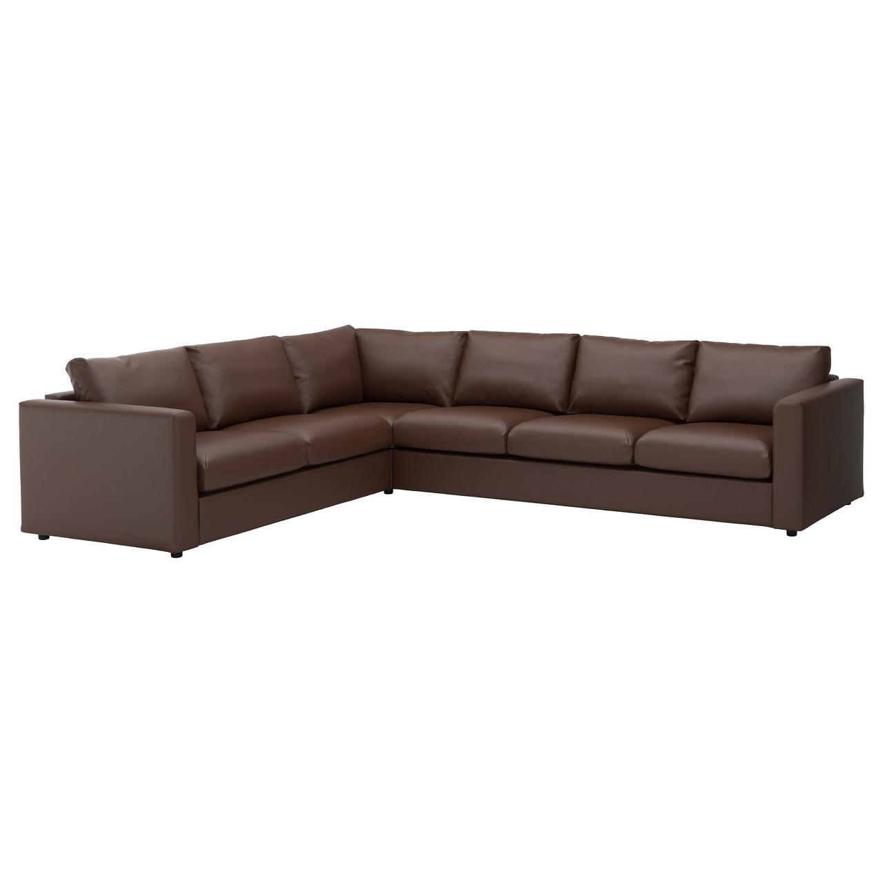 ВИМЛЕ 5-местный угловой диван, Фарста темно-коричневый