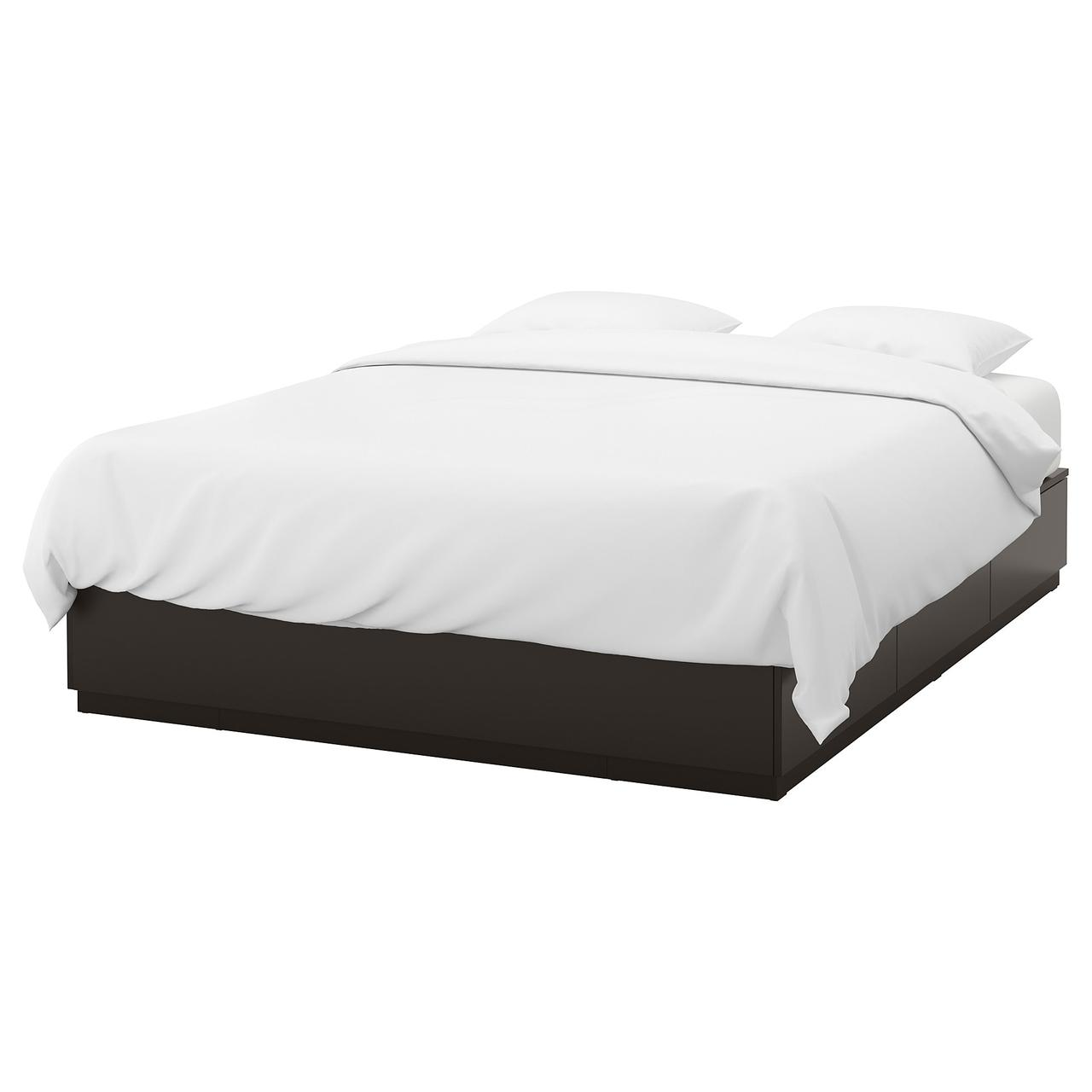 НОРДЛИ Каркас кровати с ящиками, антрацит