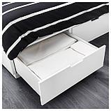 НОРДЛИ Каркас кровати с ящиками, белый, фото 4