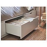 НОРДЛИ Каркас кровати с ящиками, белый, фото 6