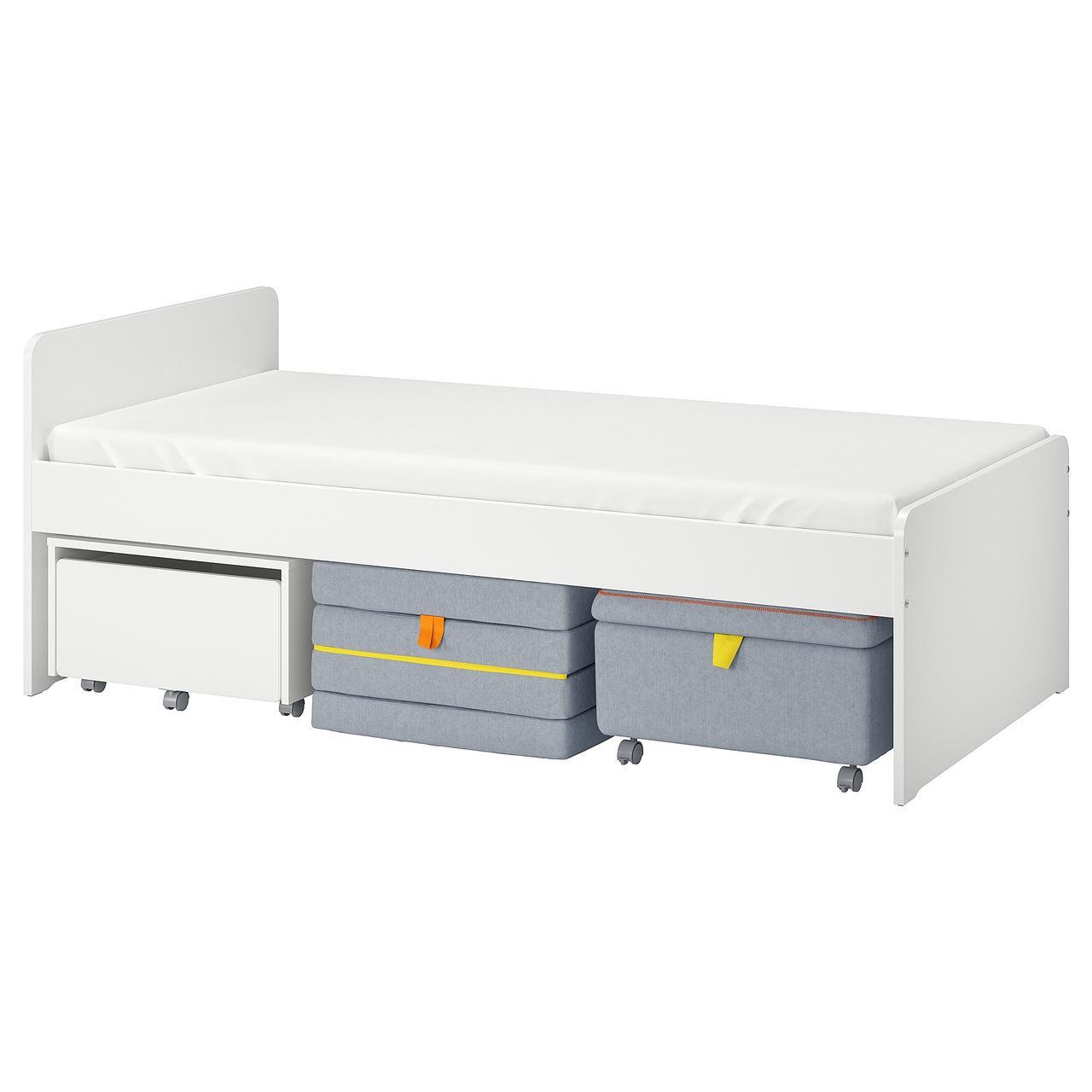СЛЭКТ Каркас кровати с секцией дивана, белый, серый