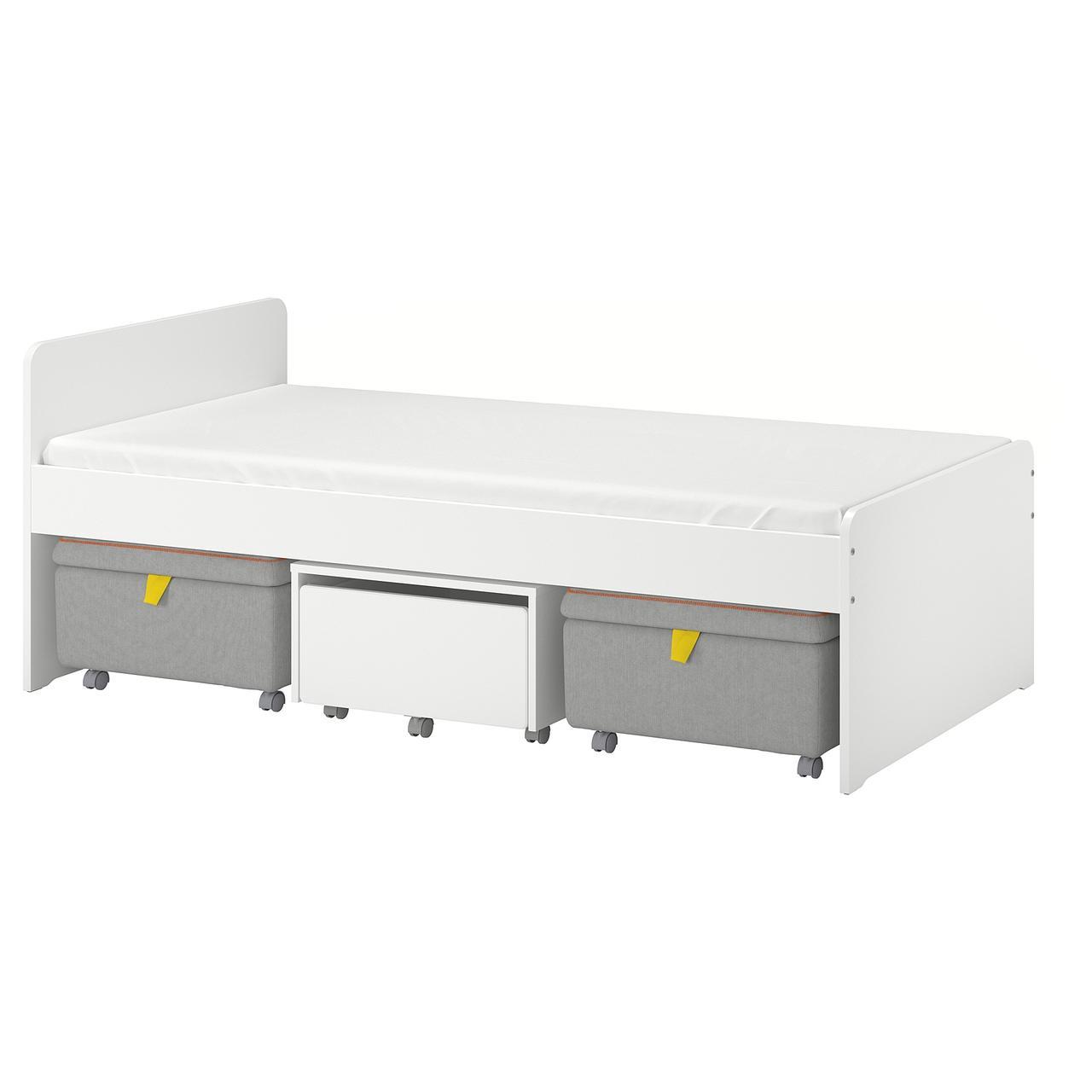 СЛЭКТ Каркас кровати+секции, белый, серый