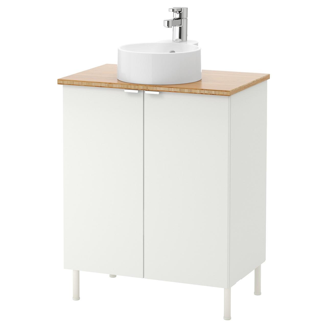 ЛИЛЛОНГЕН/ВИСКАН / ГУТВИКЕН Шкаф под раковину с 2 дверц, белый, бледно-зеленый