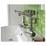 ЛУНДШЭР Смеситель для раковины с выпуском, хромированный, фото 5