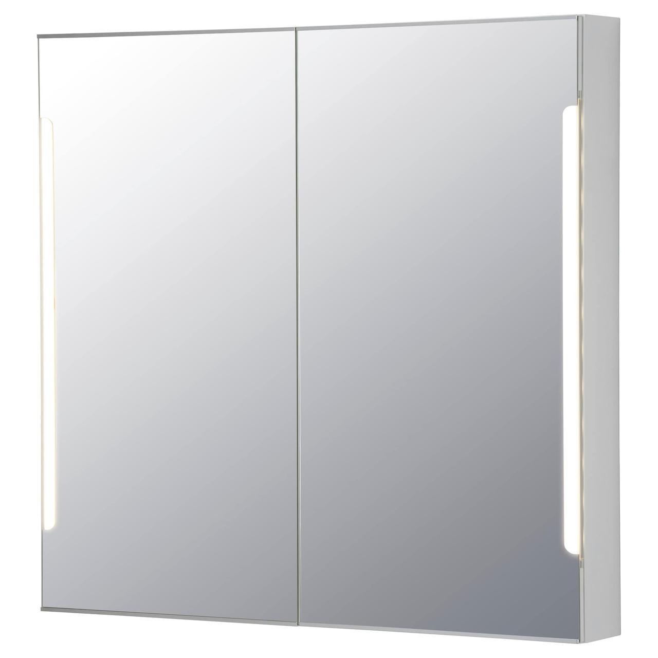 СТОРЙОРМ Зеркальн шкафчик/2дверцы/подсветка, белый